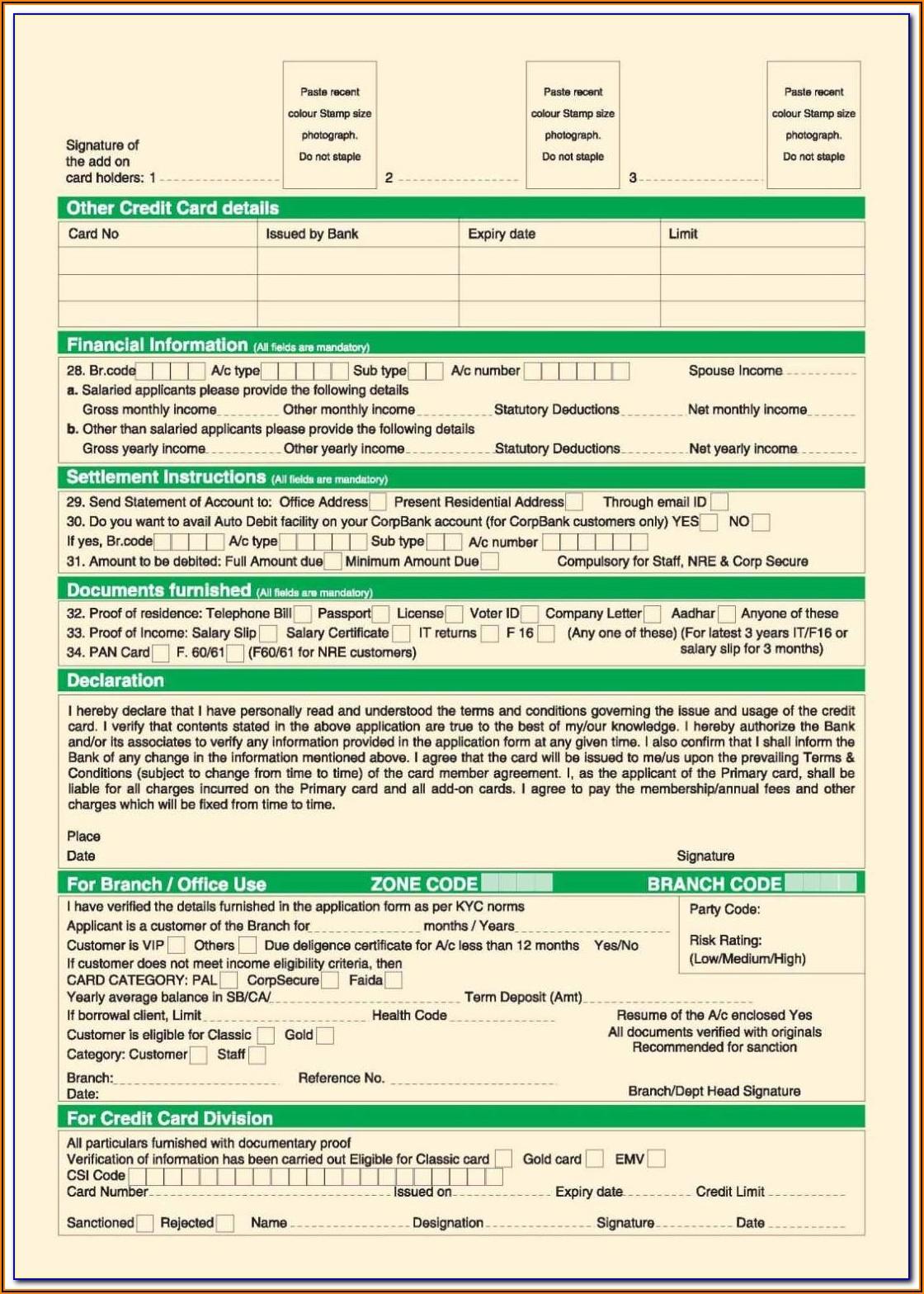 Union Bank Credit Card Application Form