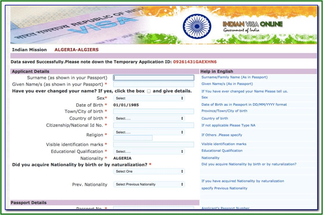 Us Visa Application Form For Indian Citizens