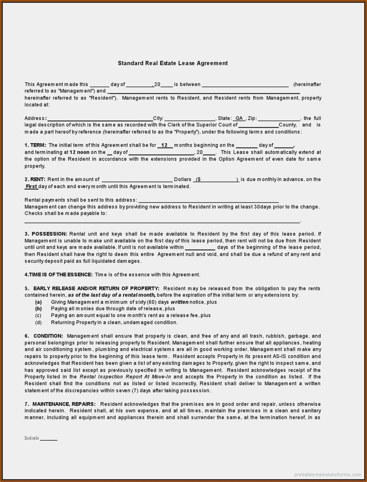 Vacant Land Lease Agreement Form