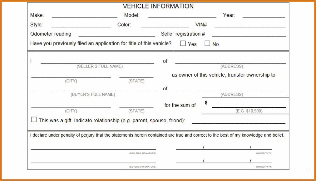 Vehicle Bill Of Sale Template Fillable Pdf