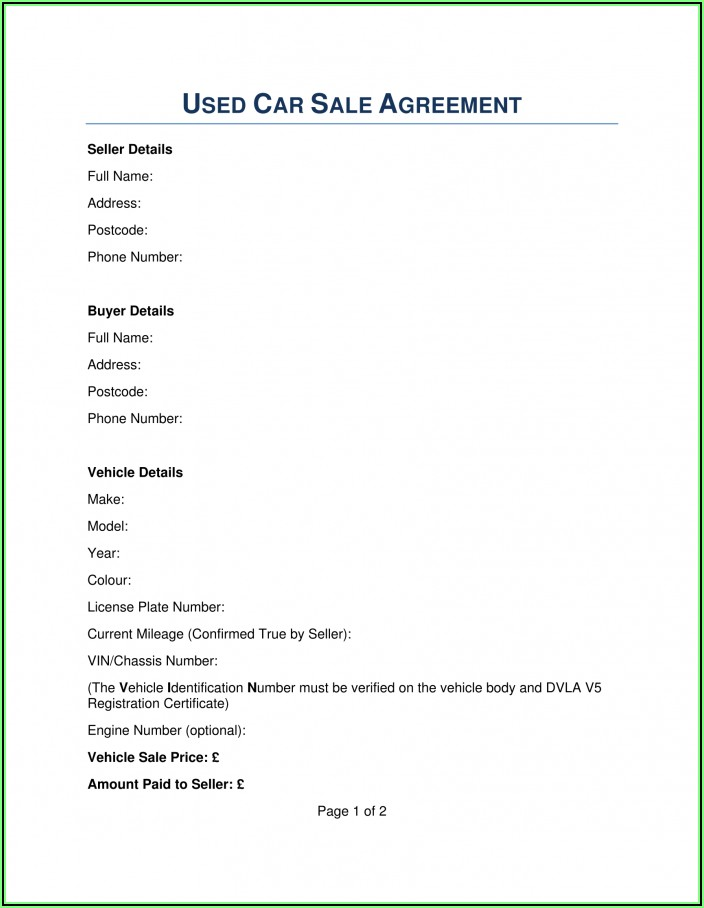 Vehicle Purchase Agreement Form Free Download