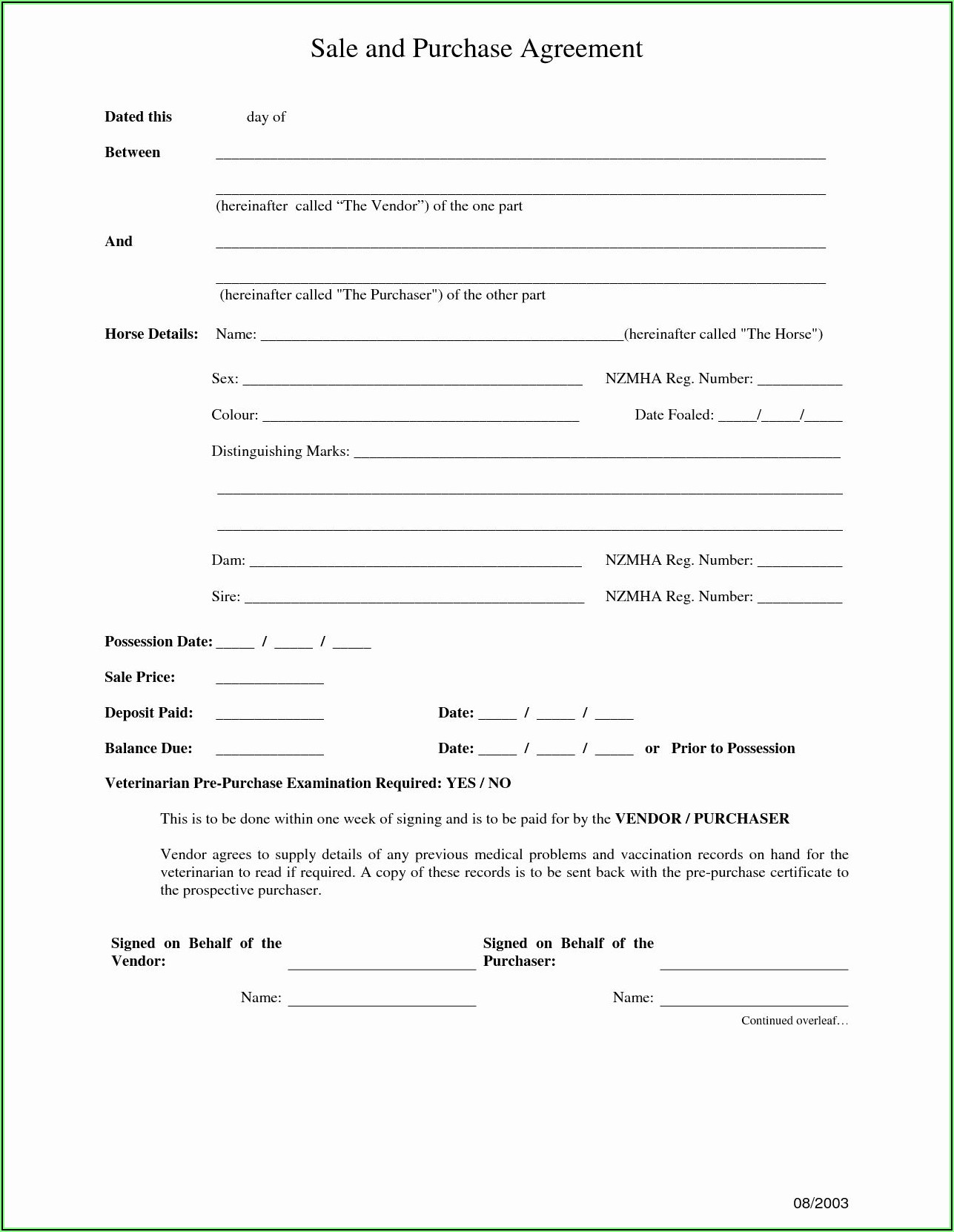 Vehicle Purchase Agreement Template South Africa