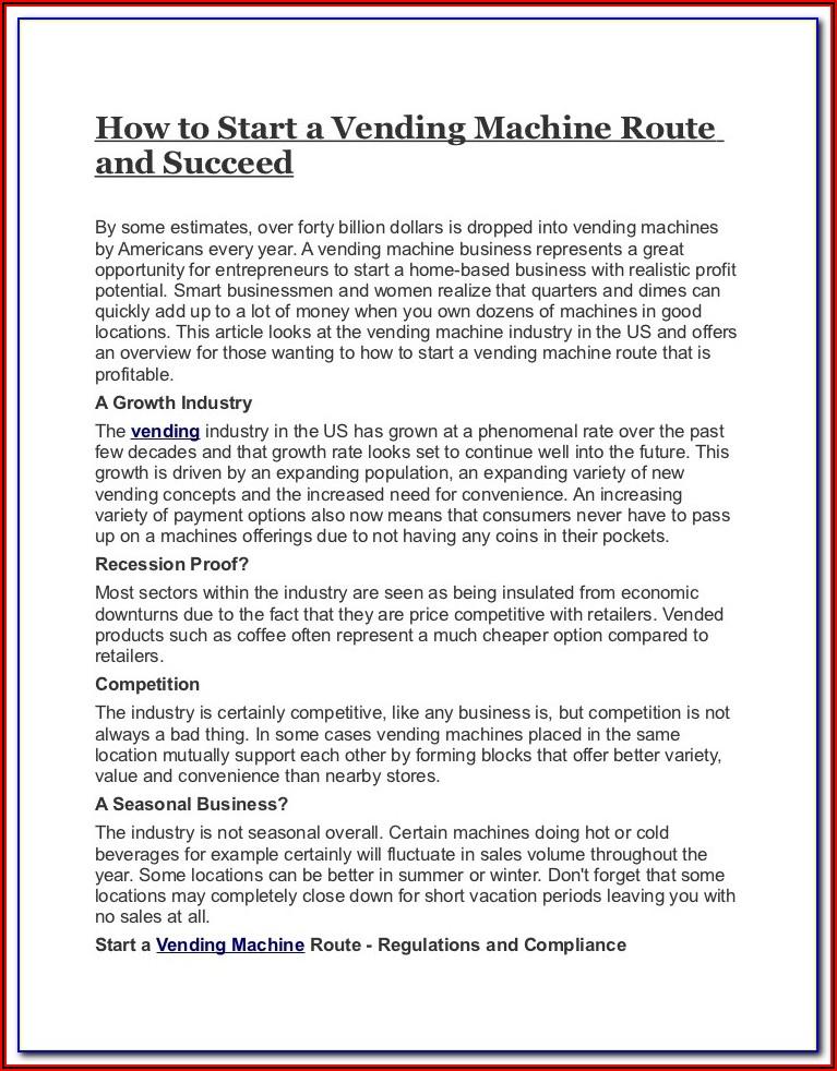 Vending Machine Business Plan Template Pdf