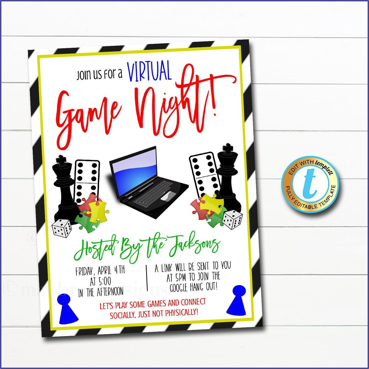 Virtual Game Night Invitation Template