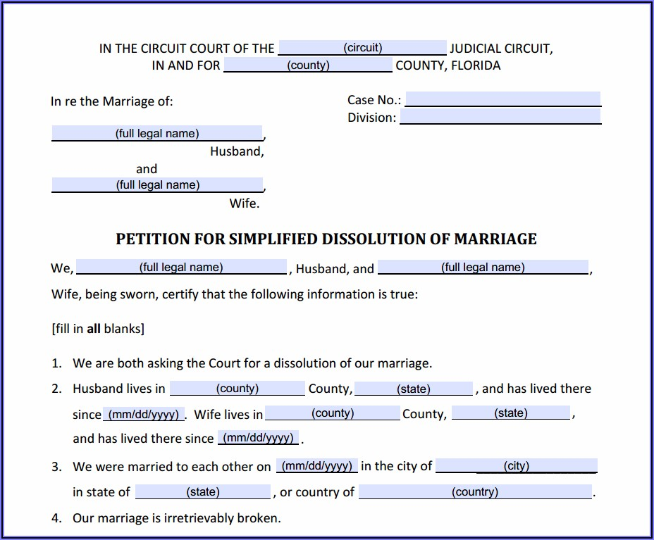 Volusia County Divorce Forms