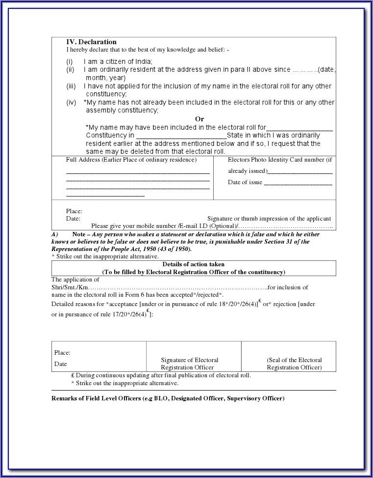 Voter Id Application Form Online Tamilnadu