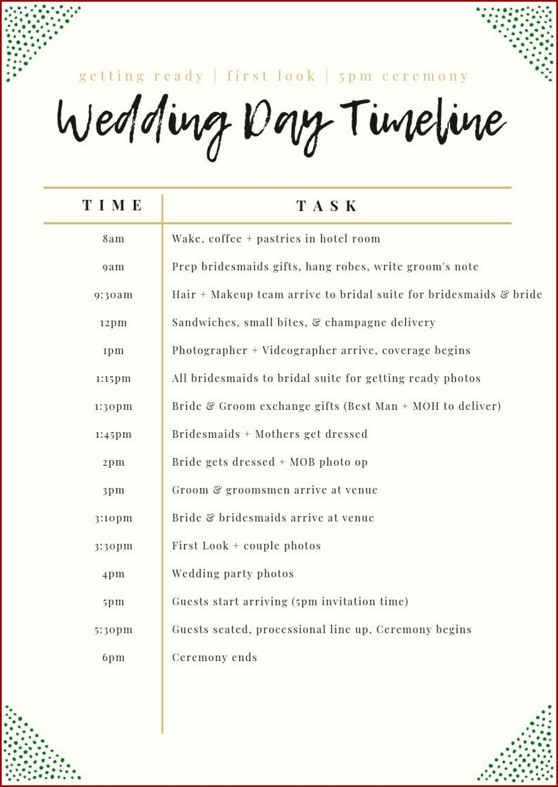 Wedding Day Timeline Template Excel Free