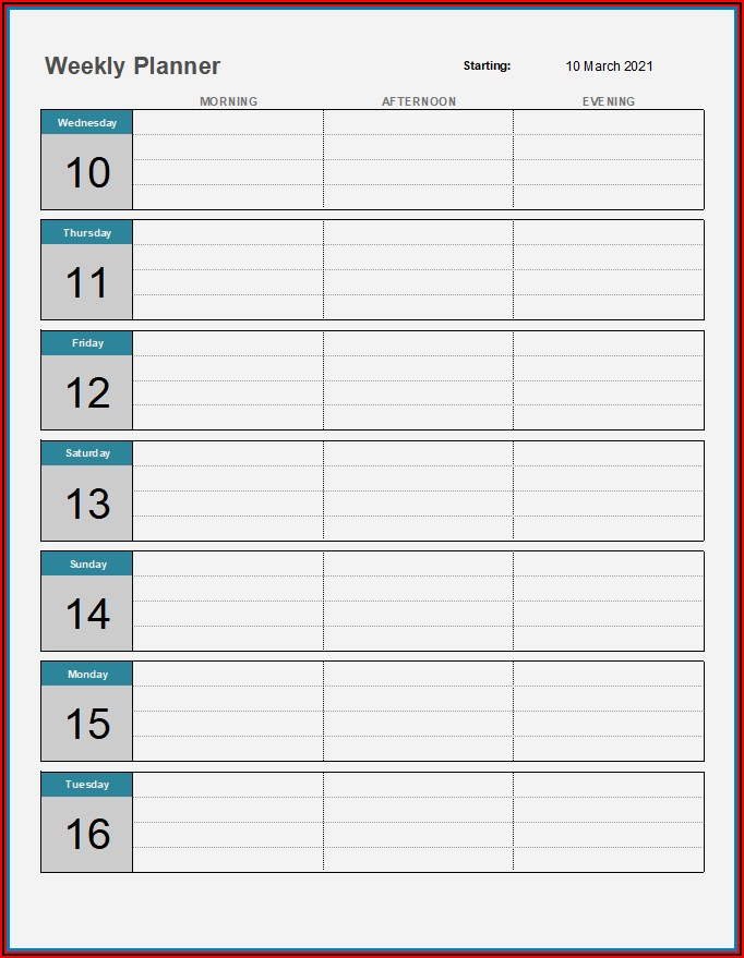 Weekly Appointment Planner Template Excel