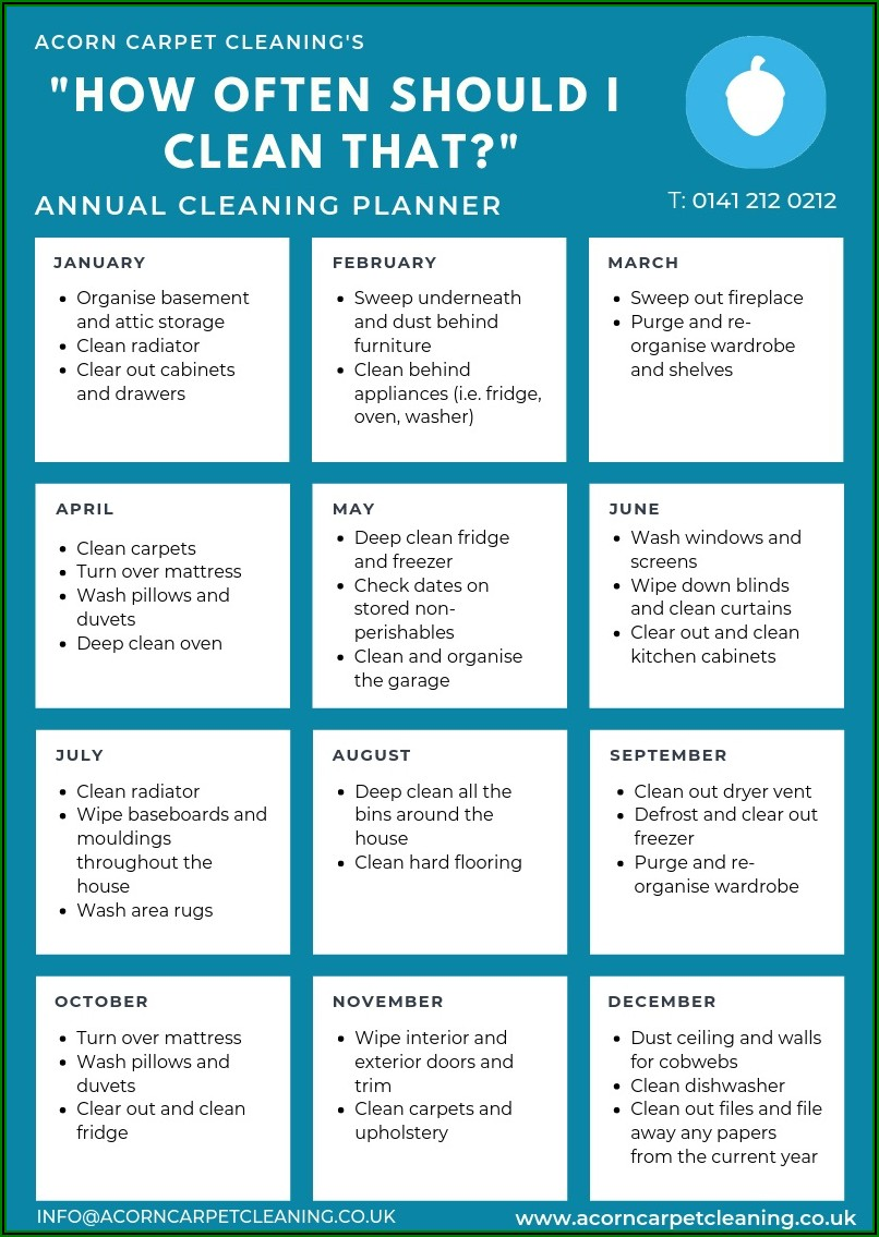 Weekly Home Cleaning Schedule Template