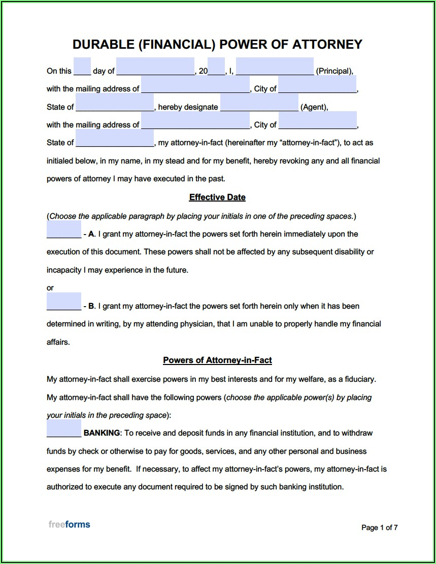 Where To Get Free Durable Power Of Attorney Forms