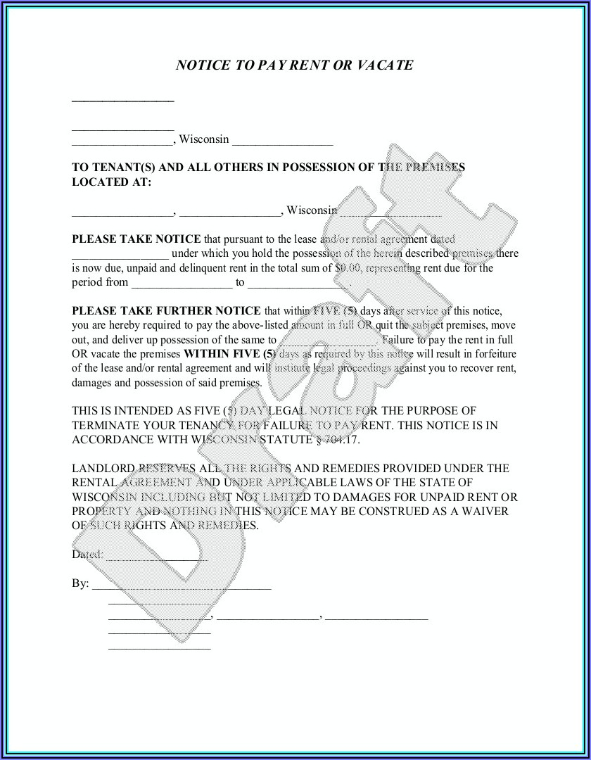 Wisconsin Eviction Forms 5 Day Notice