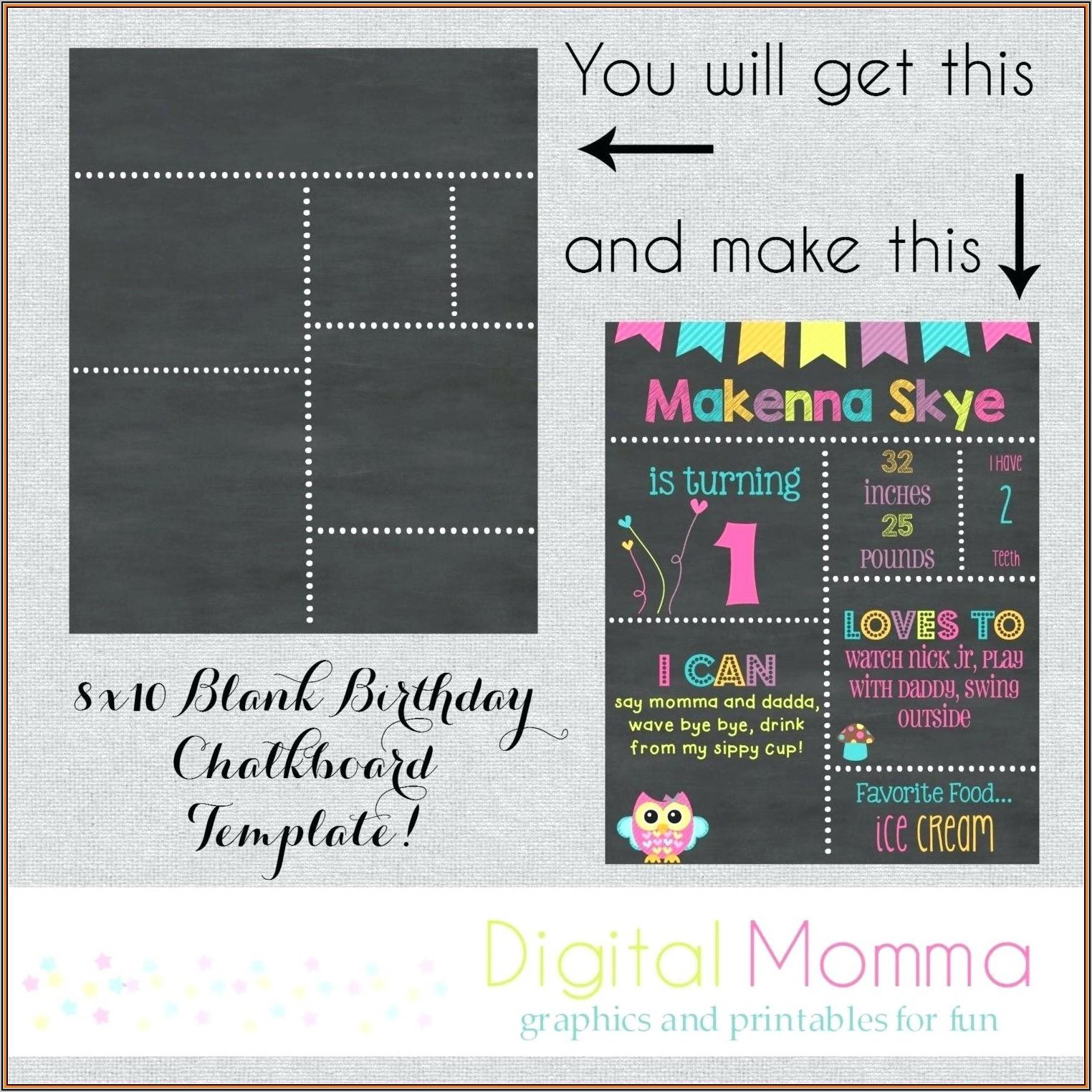 1st Birthday Chalkboard Poster Template Free