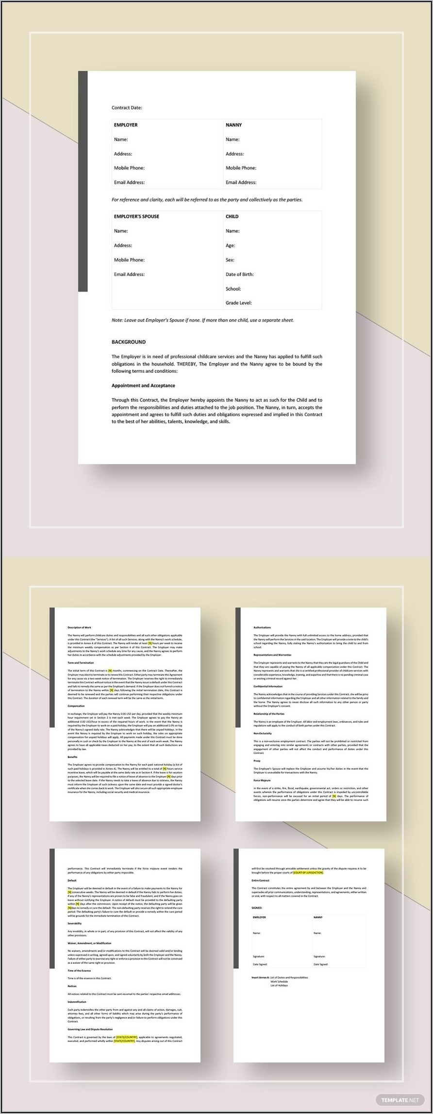 Agreement Nanny Contract Template