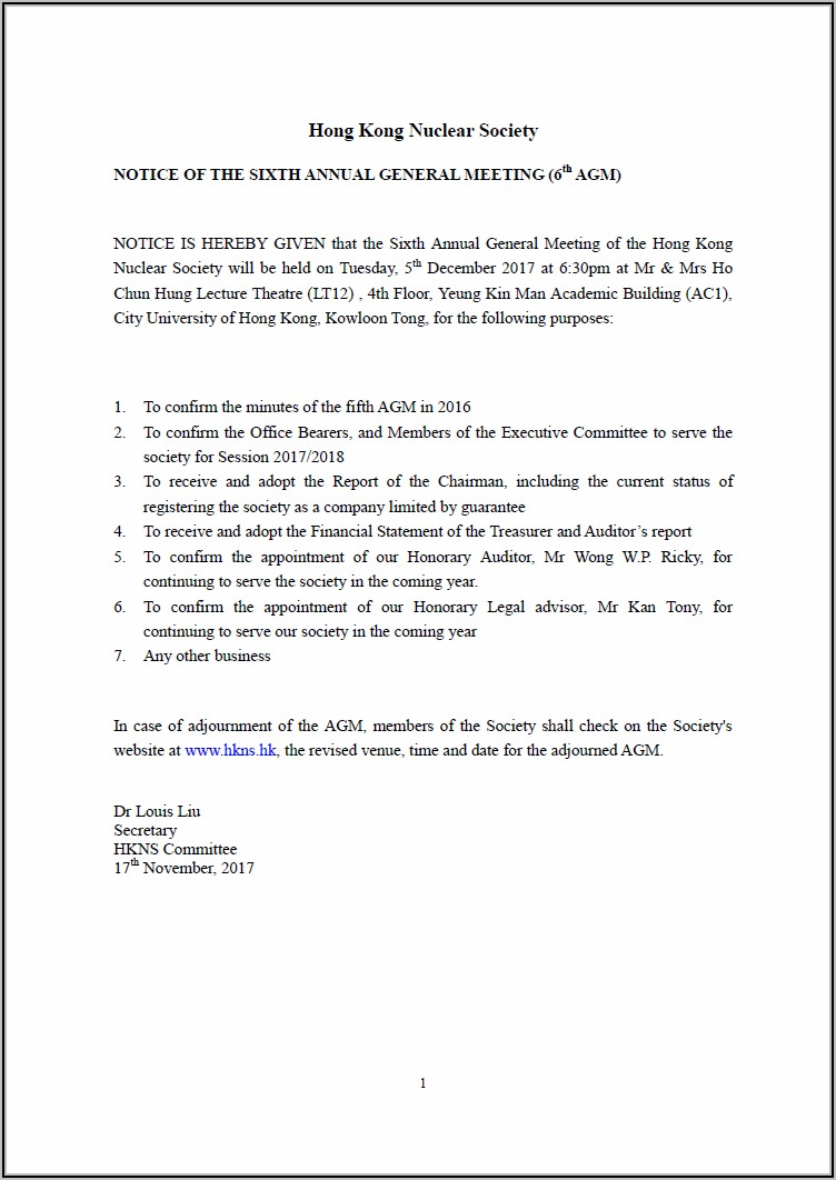 Annual General Meeting Agm Minutes Template