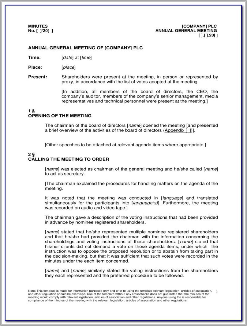 Annual General Meeting Minutes Example