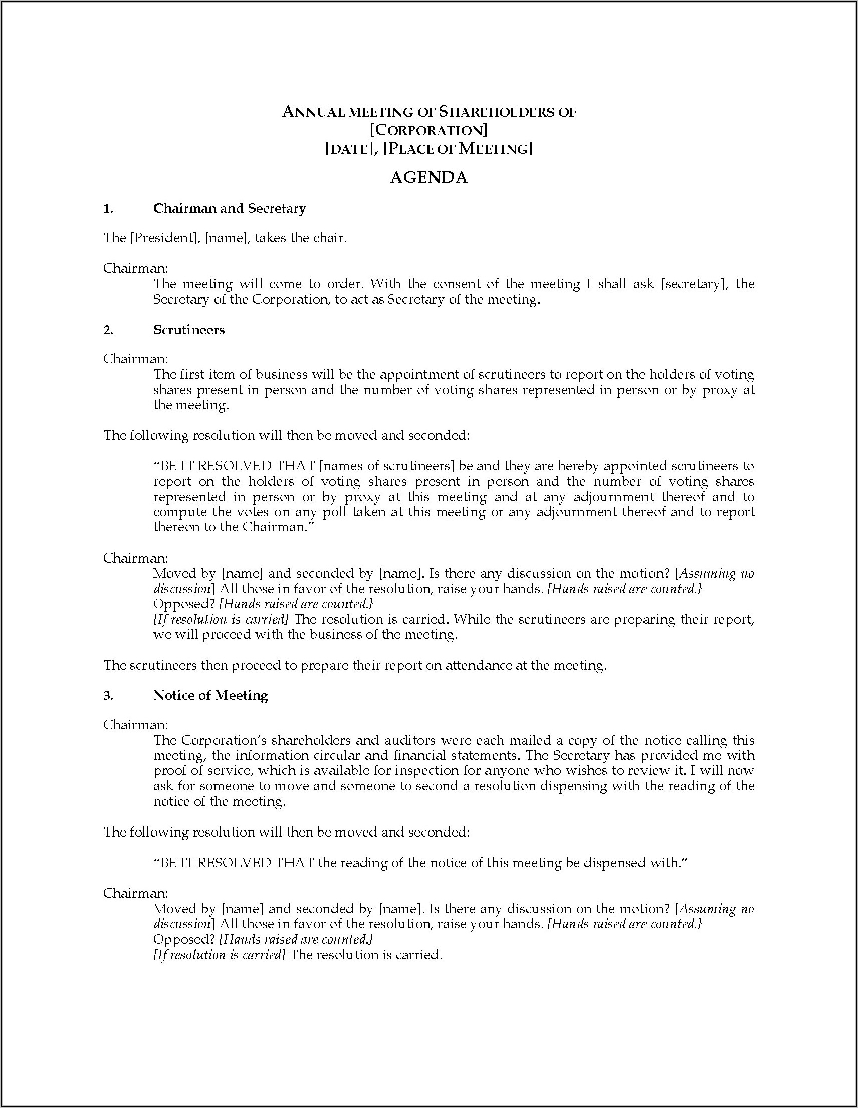 Annual General Meeting Minutes Template Canada