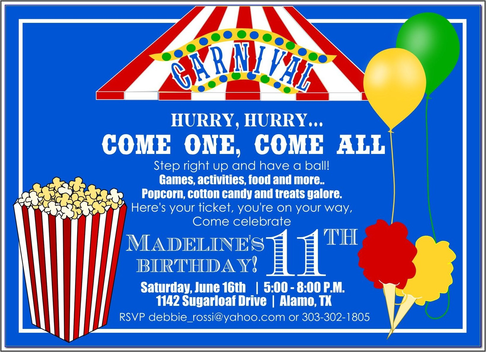 Carnival Party Invitations Free Templates