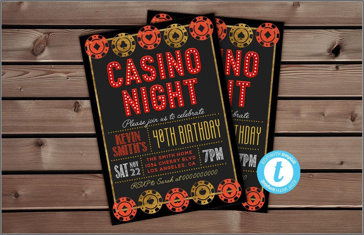 Casino Theme Party Invitation Template