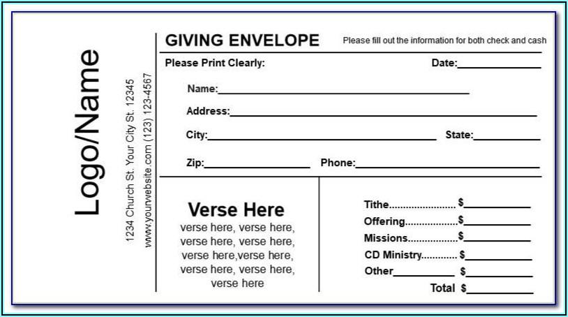 Church Giving Envelope Template