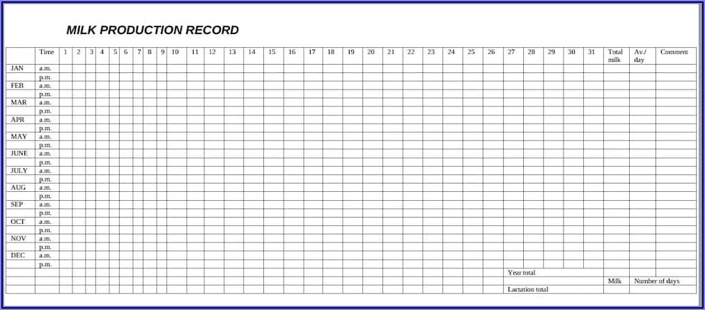 Dairy Cattle Record Keeping Forms Pdf