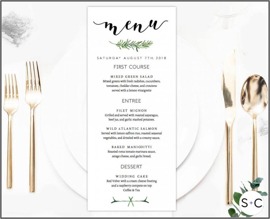 Downloadable Free Printable Wedding Menu Template