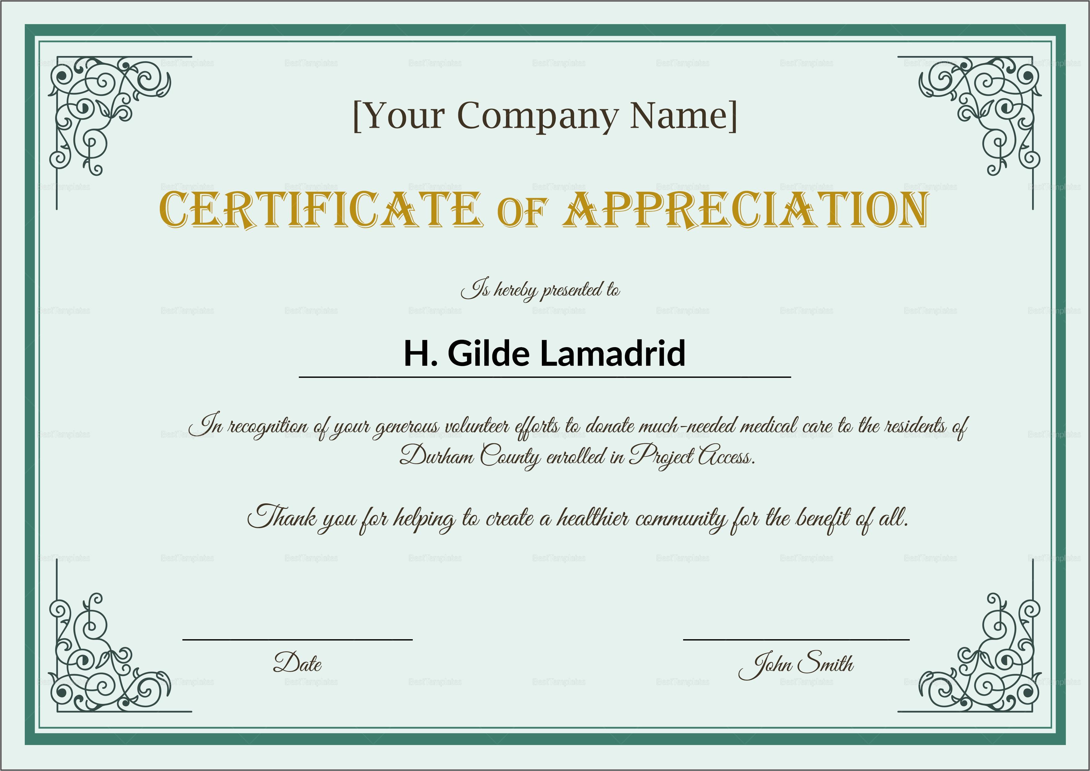 Employee Appreciation Certificate Word Template