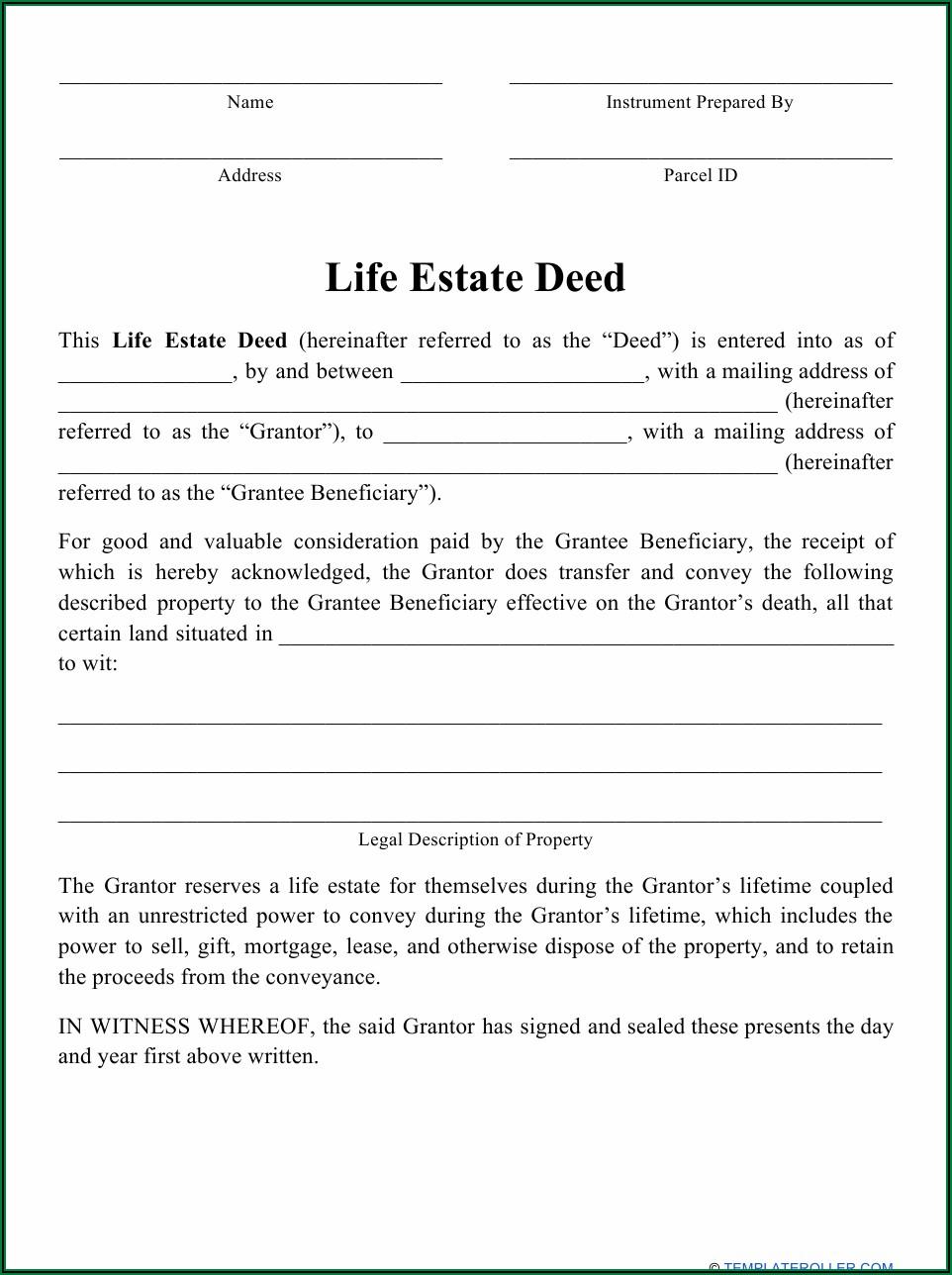 Enhanced Life Estate Deed Florida Sample