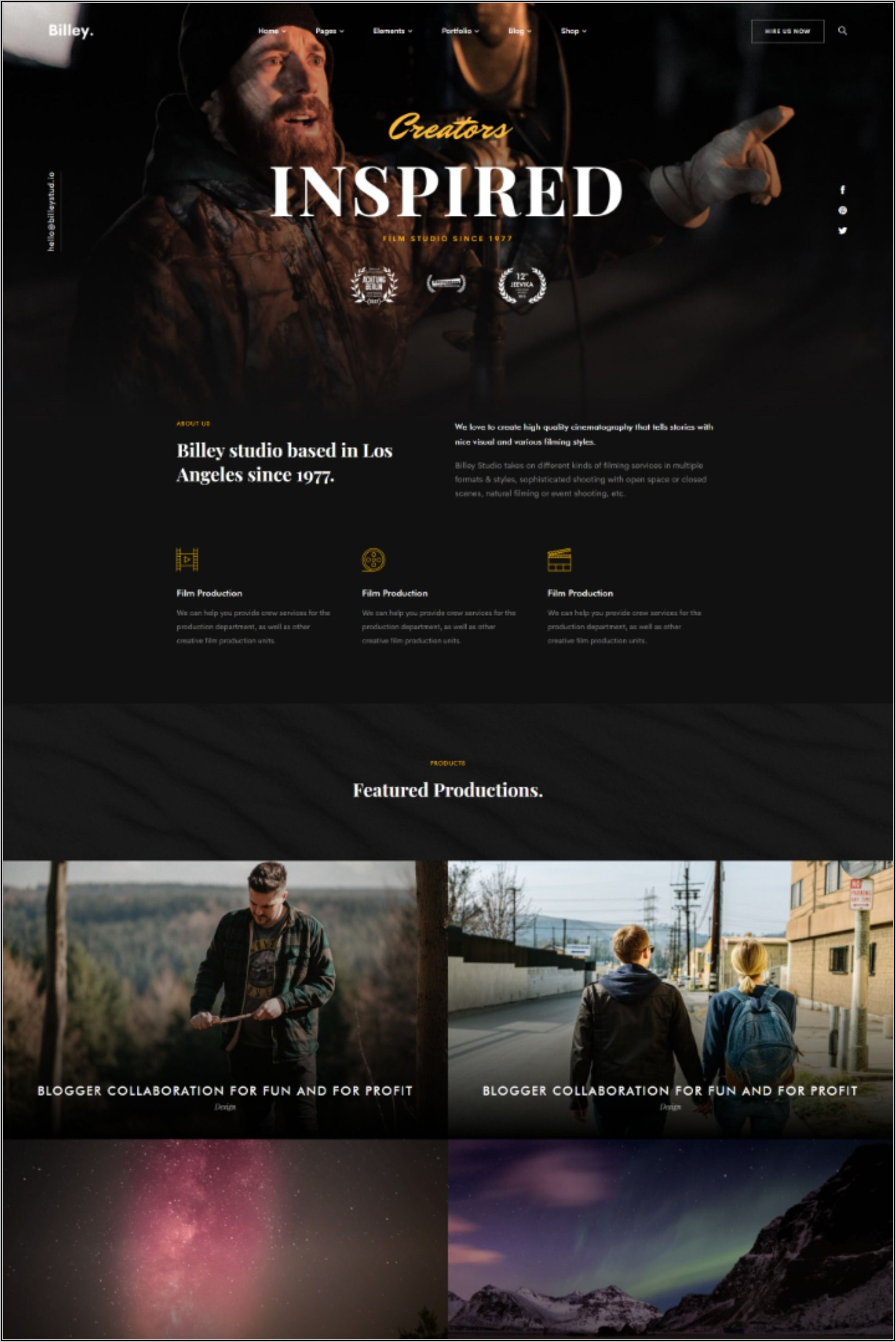 Film Production Website Templates