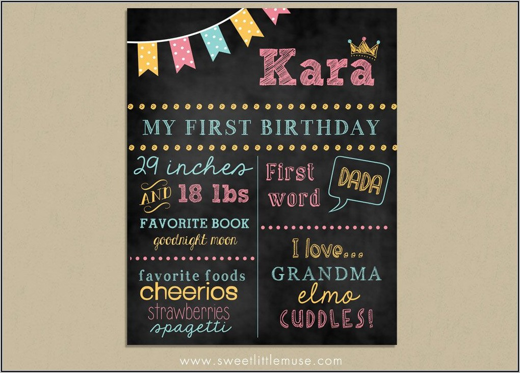 First Birthday Chalkboard Sign Template