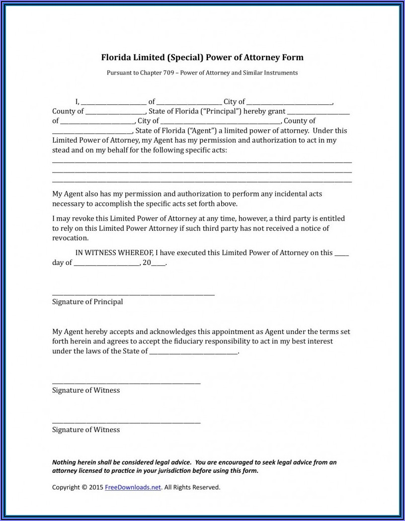 Florida Power Of Attorney Form Free Printable