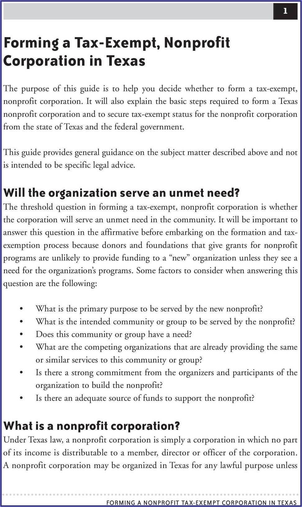 Forming A Texas Nonprofit Corporation