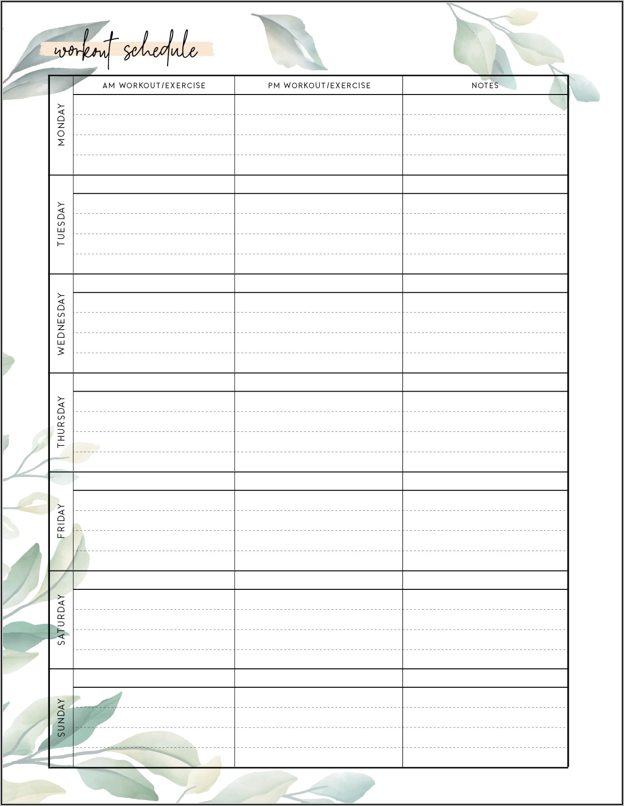 Free Blank Workout Schedule Template