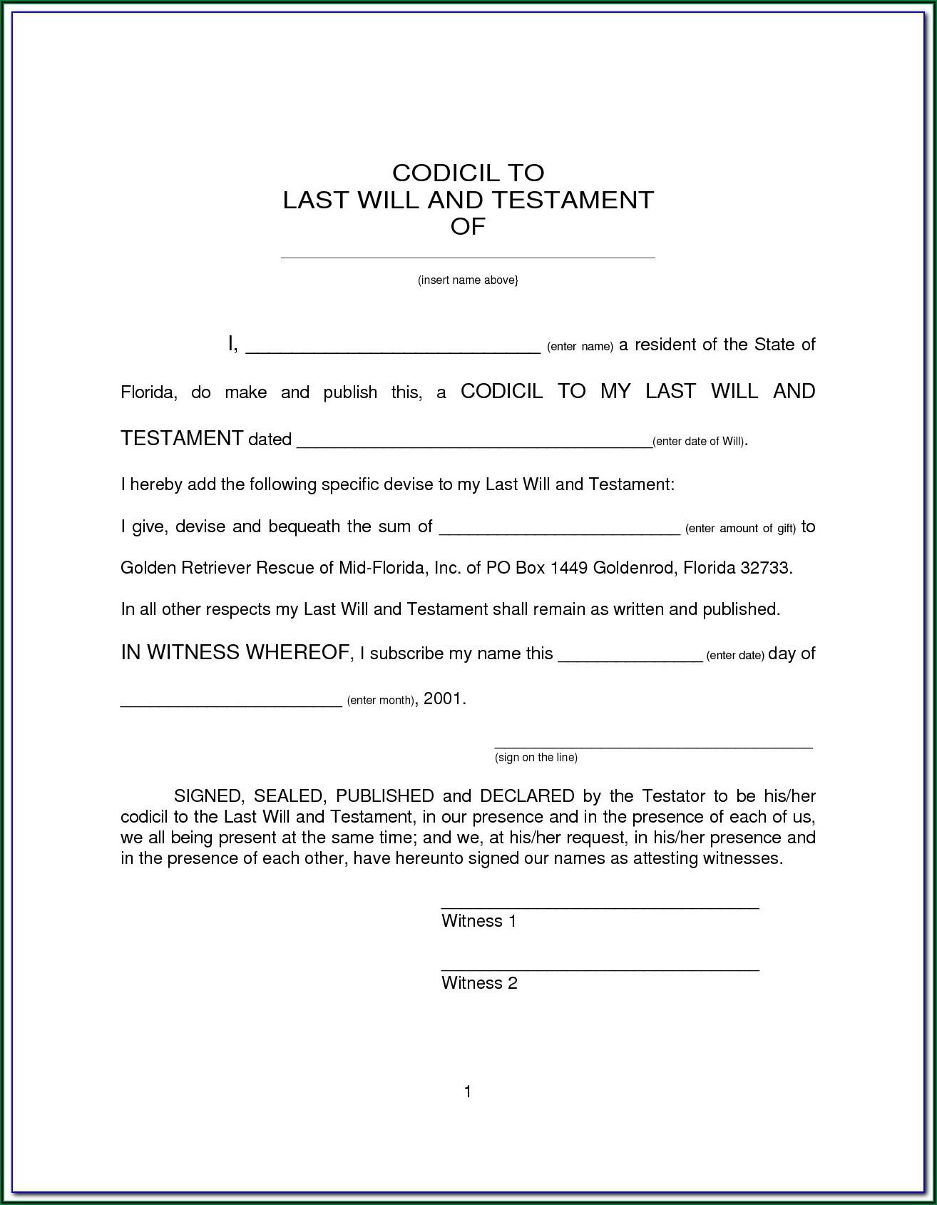 Free Codicil Form Australia