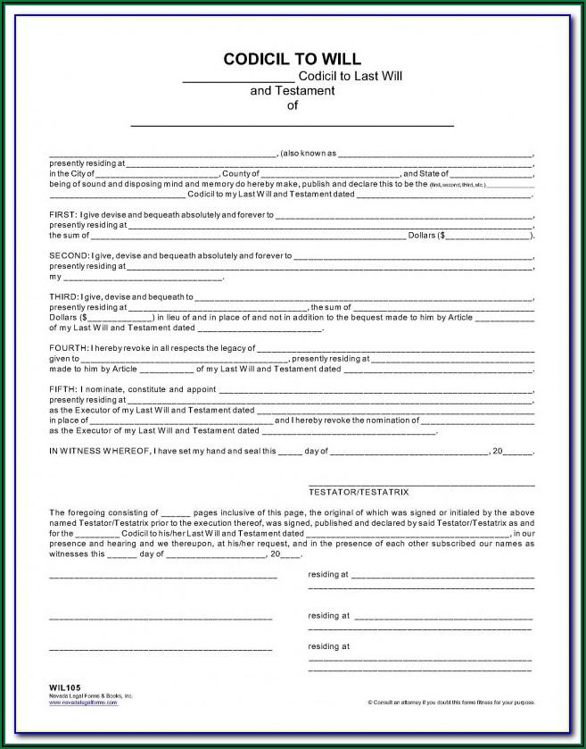 Free Codicil Form For Will