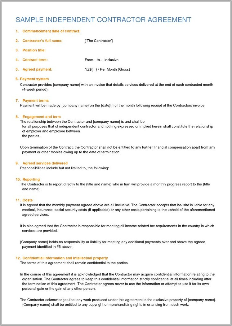 Free Independent Contractor Contract Template