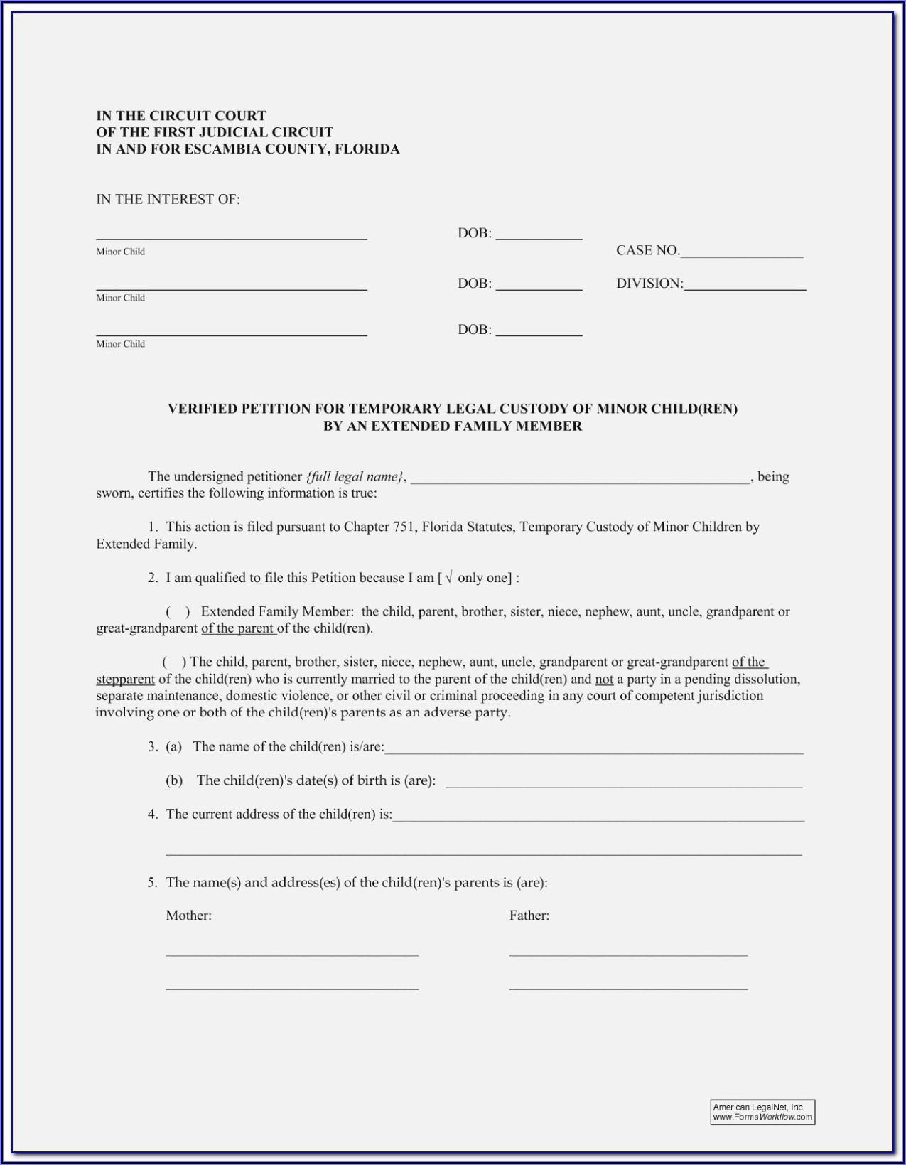Free Legal Forms Child Custody