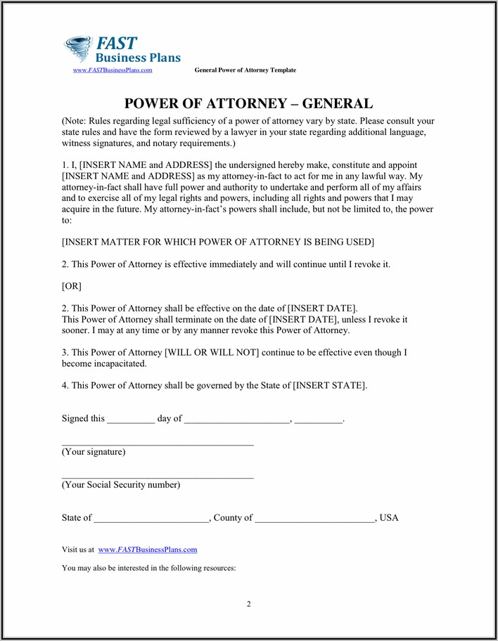General Power Of Attorney Template Word