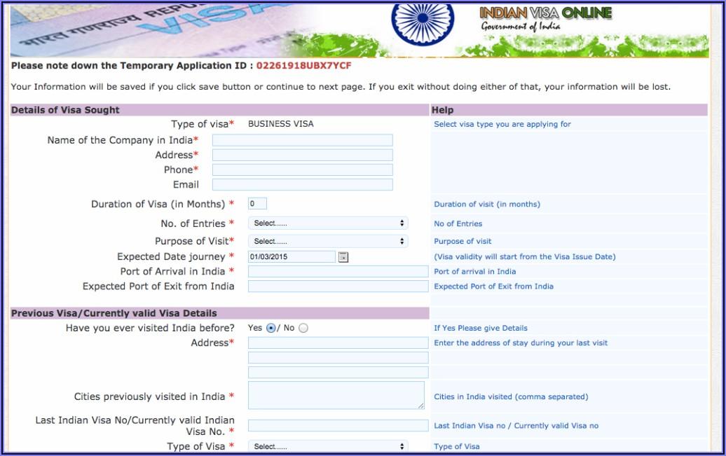 Indian Visa Application Form Online