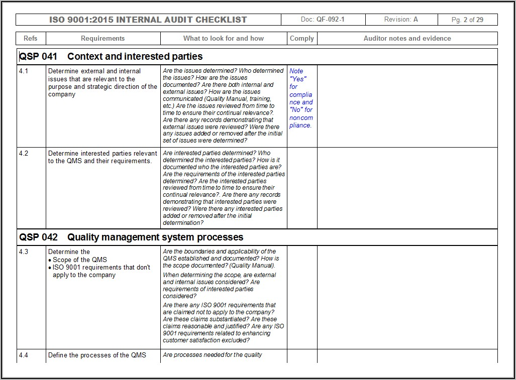 Iso 9001 Internal Audit Template