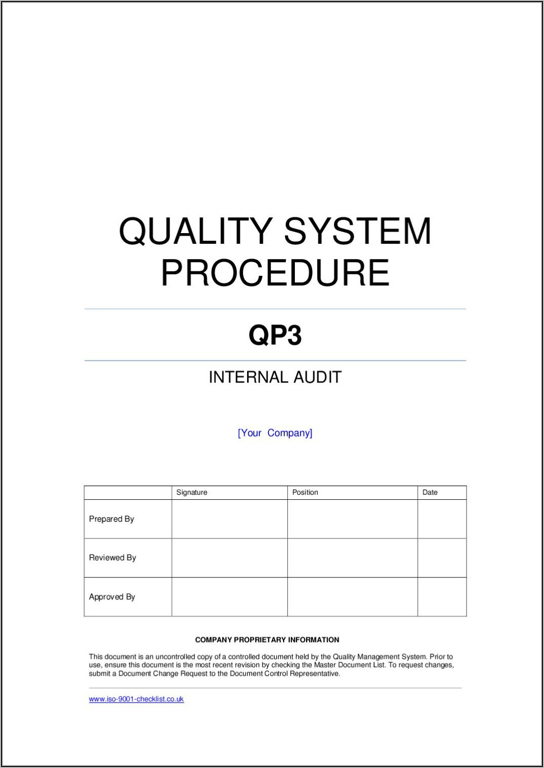 Iso Internal Audit Example