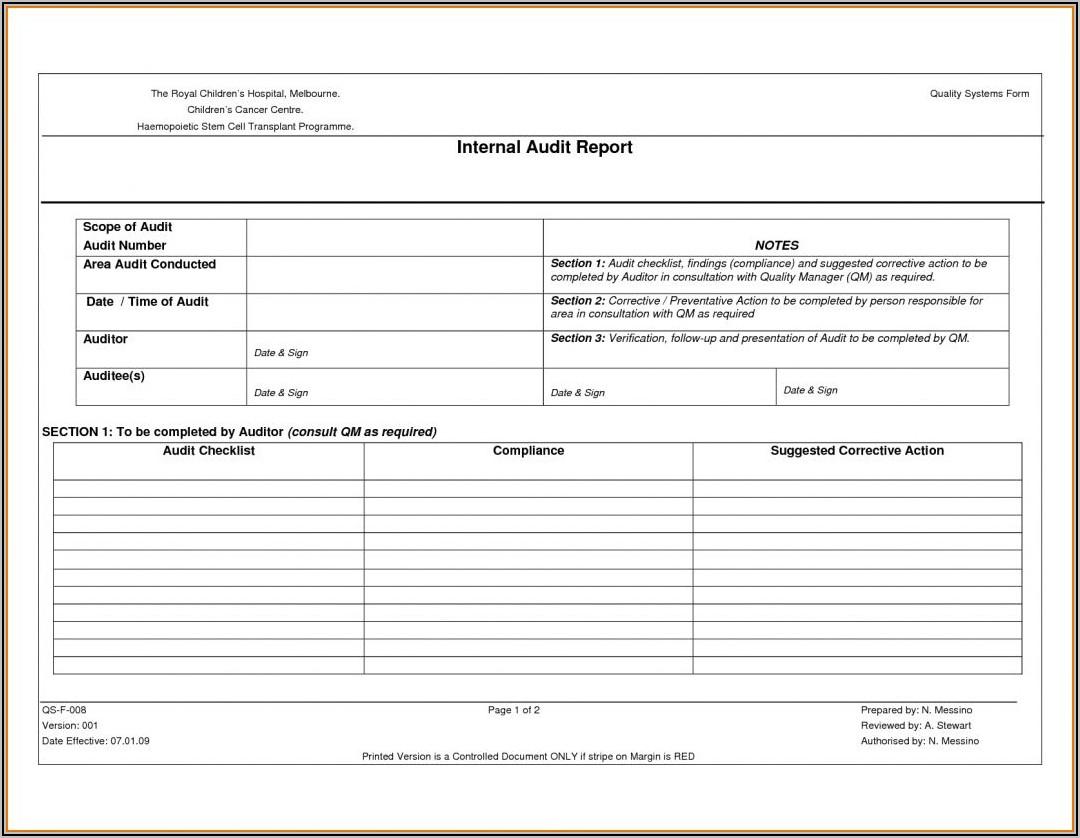 Iso Internal Audit Sample Report