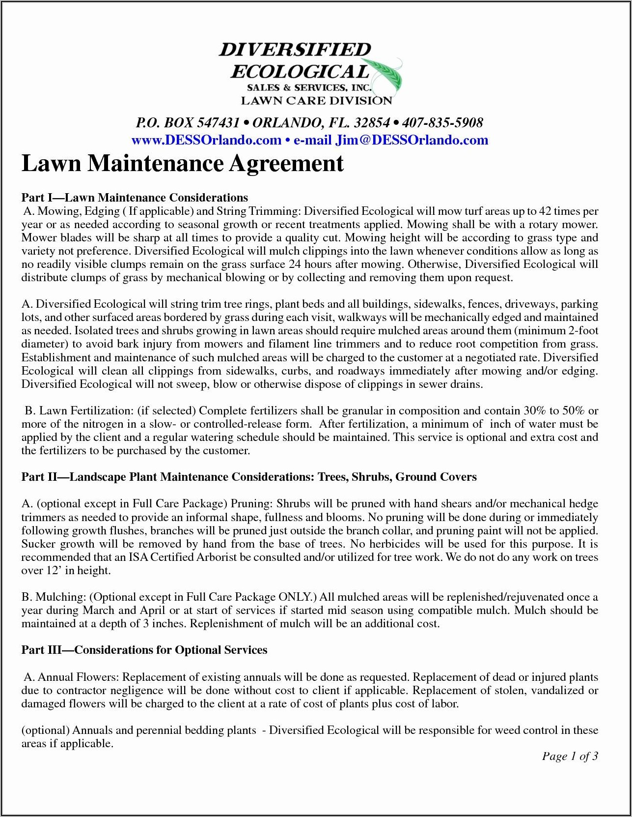 Lawn Care Maintenance Contract Template