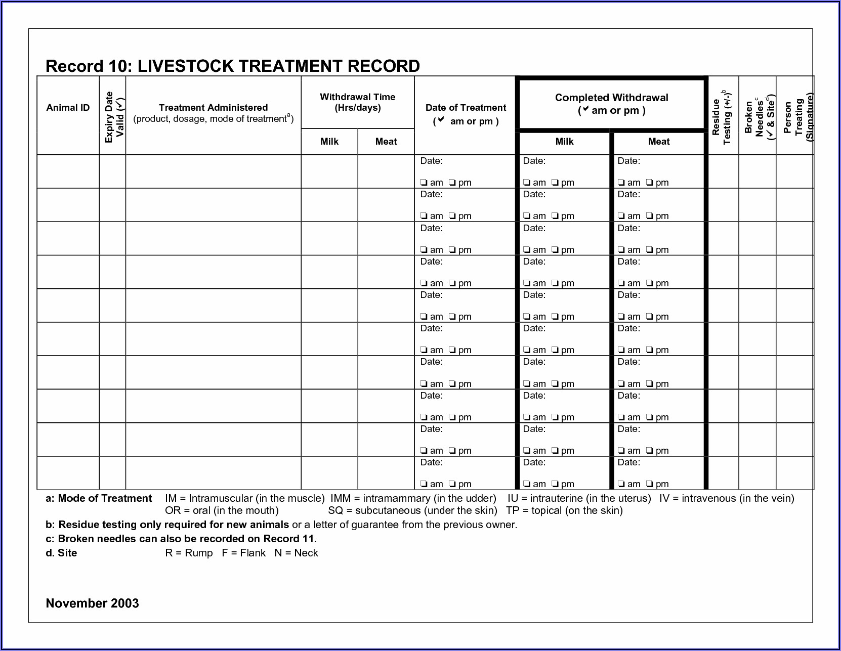 Livestock Record Keeping Template