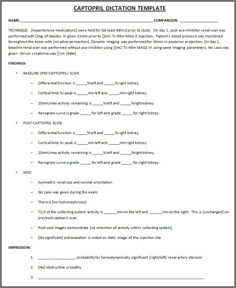 Medical Dictation Template