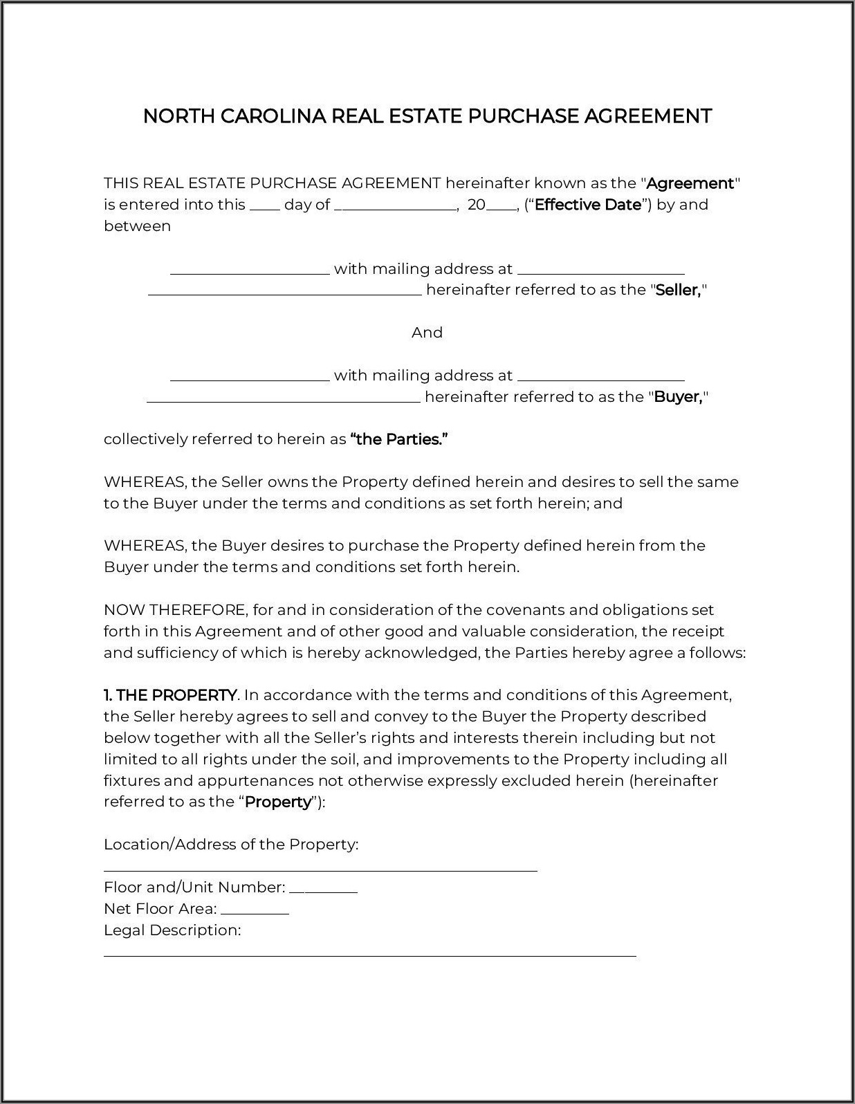 Nc Real Estate Purchase Contract Form