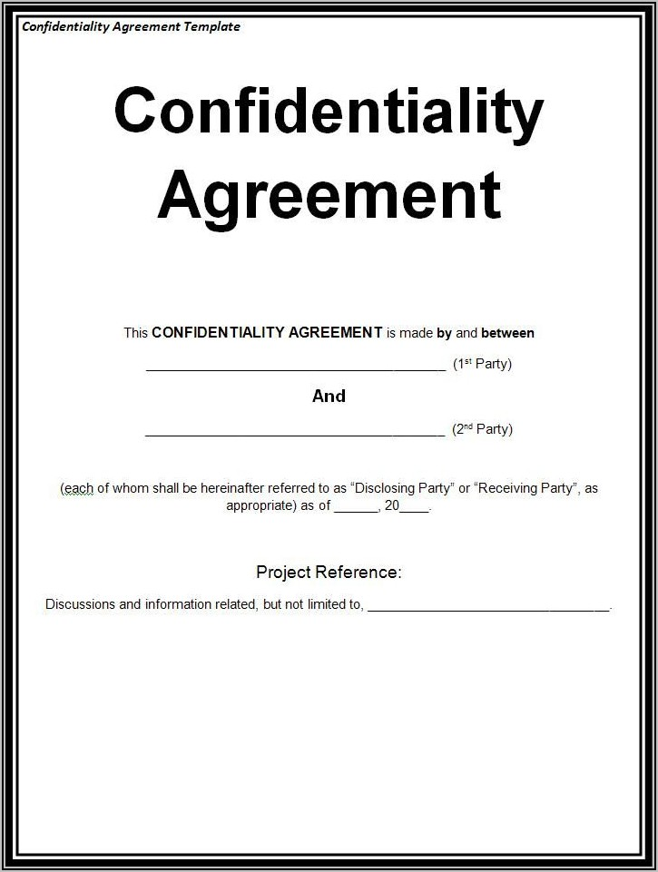 Non Disclosure Agreement Sample Confidentiality Agreement Template Word