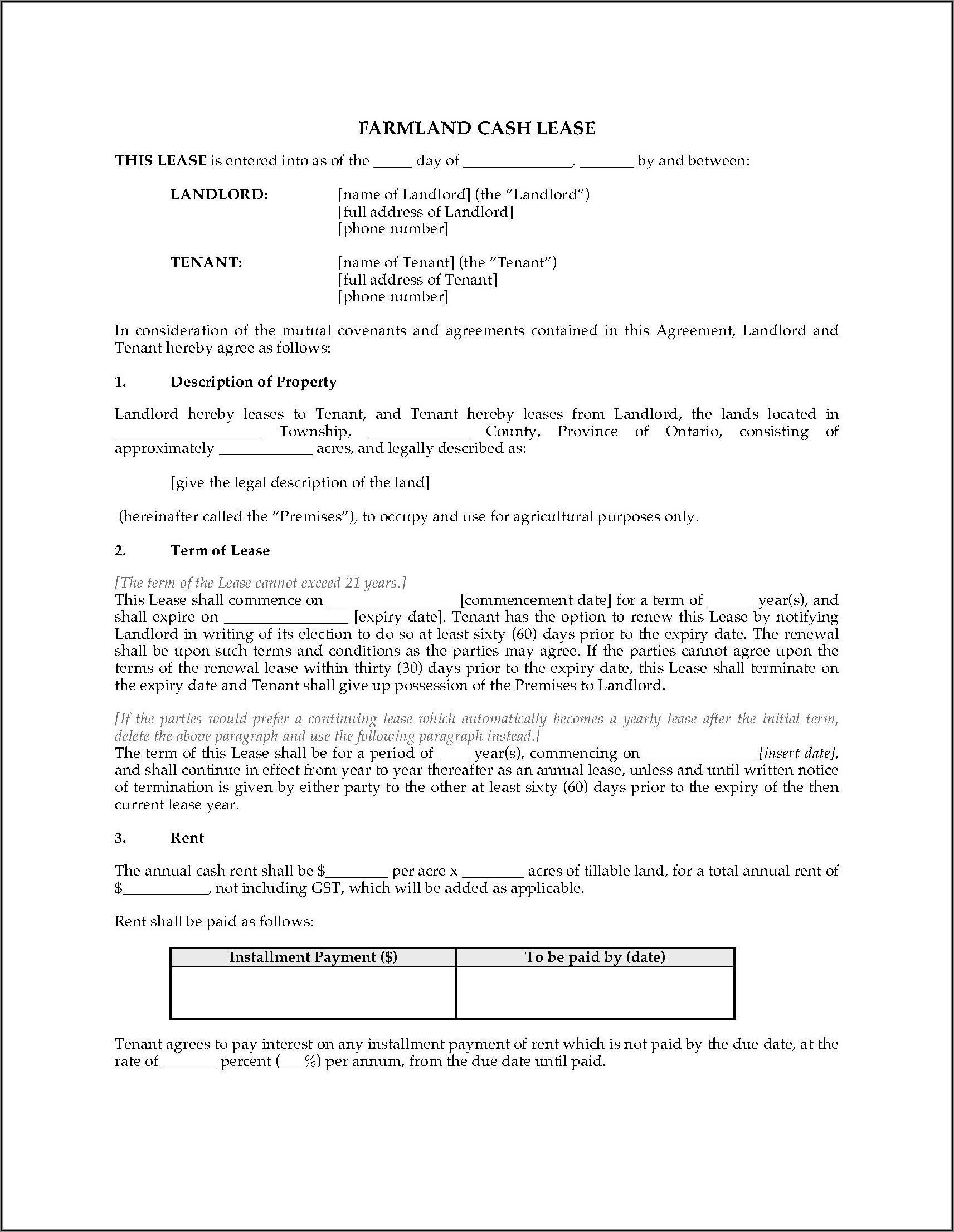Ontario Farmland Rental Agreement Form