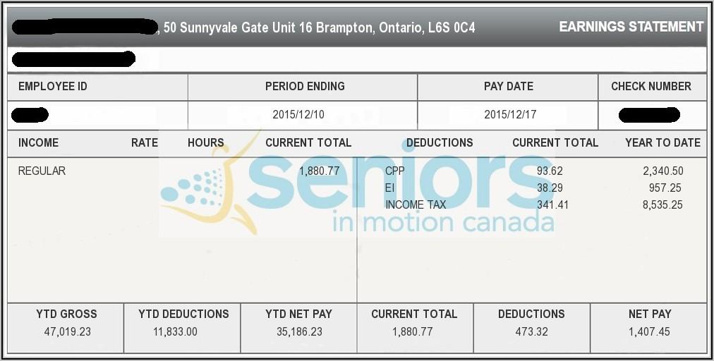 Pay Stub Sample Canada