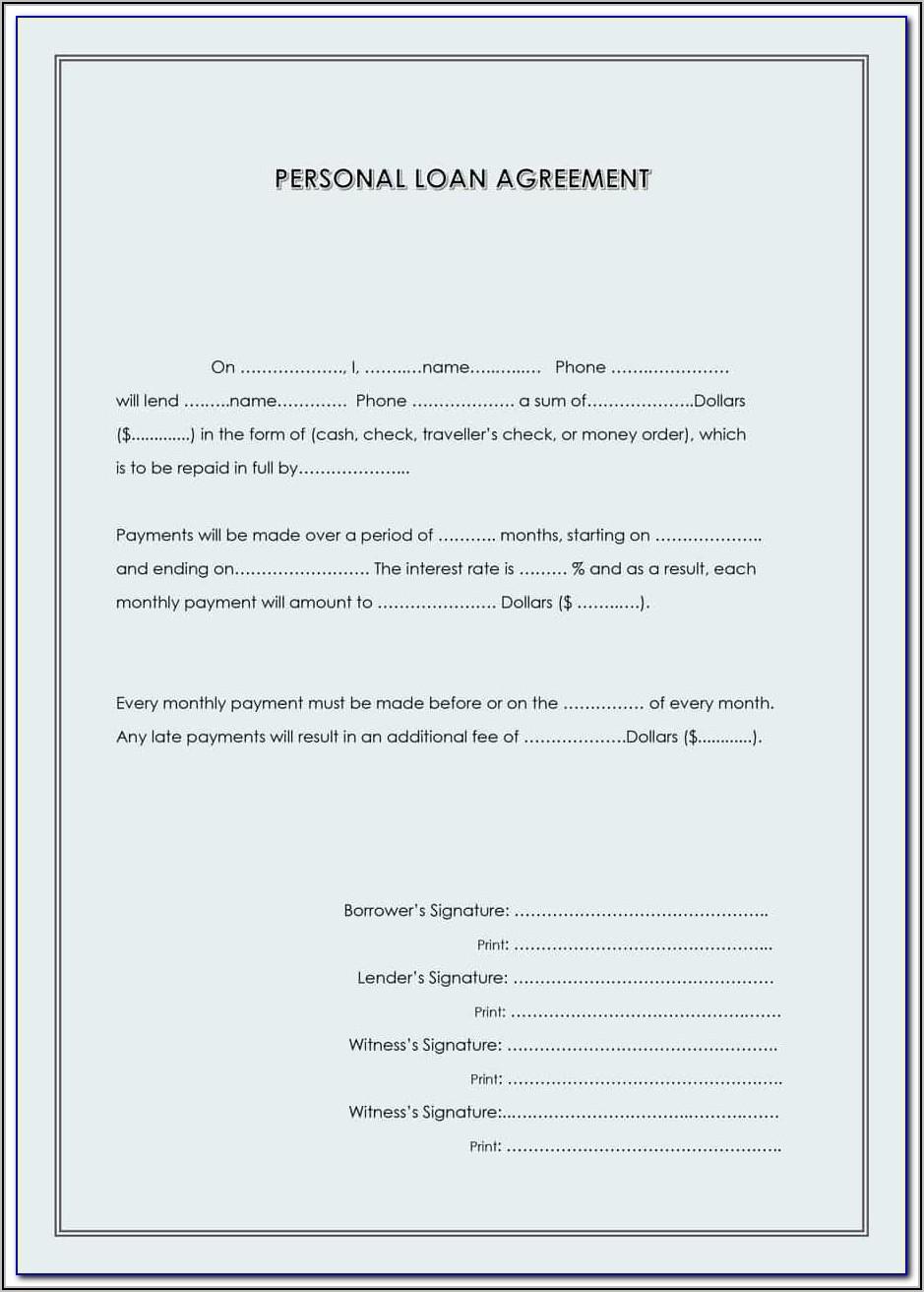 Personal Loan Agreement Template Australia Free