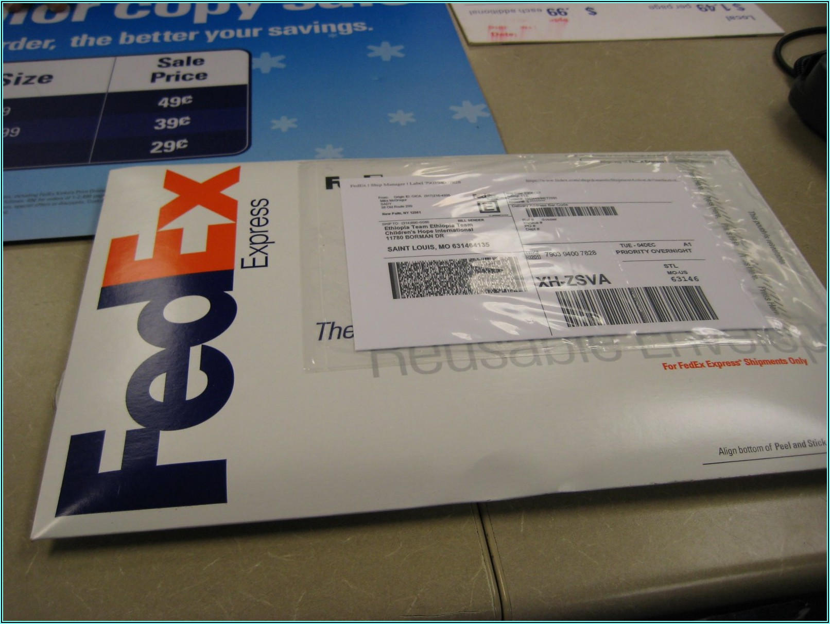 Prepaid Express Mail Envelope Fedex